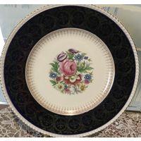 Шикарная винтажная тарелка Букет Англия кобальт позолота