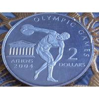 Острова Кука 2 доллара 2002 Олимпийские игры в Афинах.