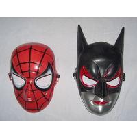 Маска оригинальная Человек Паук и Бэтмен. Прочный пластик. Универсальный размер. Новая в упаковке. Распродажа!