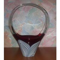 Ваза-конфетница СССР цветное стекло (высота 24 см)