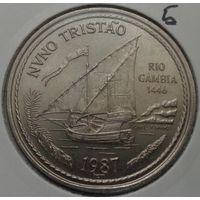"""Португалия, 100 эскудо 1987 год, """"Золотой век открытий - Нуну Триштан"""" - 34 мм."""