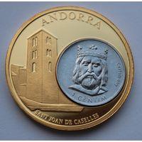 """Памятная красивая медаль """"Андора""""  - 50мм."""