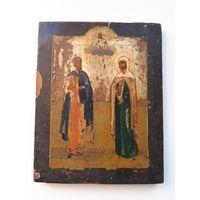 Старинная Икона. Золочение Доска Кипарис. 19 век