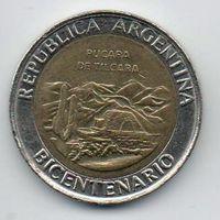 РЕСПУБЛИКА АРГЕНТИНА 1 ПЕСО 2010. 200 лет Аргентине - развалины крепости Пукара около г. Тилькара. БИМЕТАЛЛ