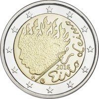 2 Евро Финляндия 2016 90 лет со дня смерти Эйно Лейно UNC из ролла
