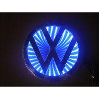 LED логотип автомобиля Volkswagen(11,5cm) 3D.Цвет синий..