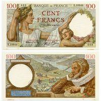 Франция. 100 франков (образца 1940 года, P94, aUNC)
