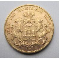 Германия, Гамбург, 20 марок, 1913, золото