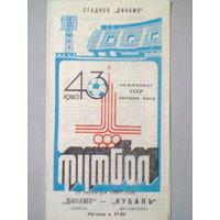 1980 год Динамо Минск--Кубань Краснодар