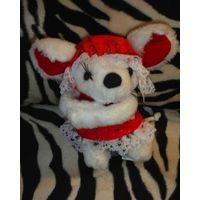 Белая мышка мышь мыша в капоре мягкая игрушка 90-е