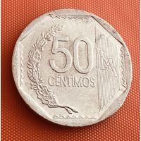 101-28 Перу, 50 сентимо 2008 г. Единственное предложение монеты данного года на АУ