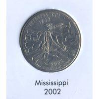 25 центов США 2002 г. штат Миссисипи D
