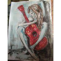 """Картина """"Девушка с гитарой"""""""