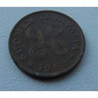 1 пенни Финляндия 1963 г.в. KM# 44, PENNI, из коллекции