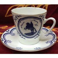Чашка с блюдцем (кофейная пара) На берегах Невы. ЛФЗ, СССР