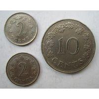 Мальта. 2-2-10 центов 1971-72 г.г.  .114