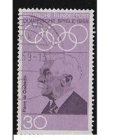 Марка Германия 1968 г. Олимпийские игры 1698 года. . Олимпиада. Кубертен  XIX летние Олимпийские игры