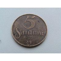 5 сантимов 1922 Латвия