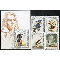 Птицы Мавритания 1985 год серия из 1 блока и 4 марок (М)