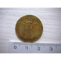 Испания 40 сентимо 1865 г.  Изабела II / фальшак XIX века