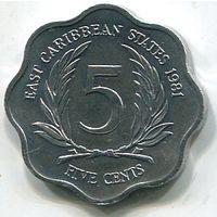 ВОСТОЧНО КАРИБСКИЕ ШТАТЫ - 5 ЦЕНТОВ 1981
