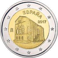 2 евро Испания 2017 Церковь Санта-Мария-дель-Наранко в Овьедо UNC из ролла