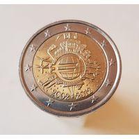 2 евро Бельгия 2012 10 лет евро наличными