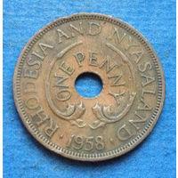 Родезия и Ньясаленд Британская колония 1 пенни 1958