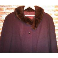 Пальто зимнее, возрастное, шерсть, воротник норка