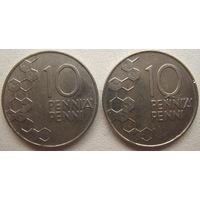 Финляндия 10 пенни 1990, 1993 гг. Цена за 1 шт.