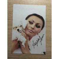 Фото актрисы Софи Лорен с автографом.