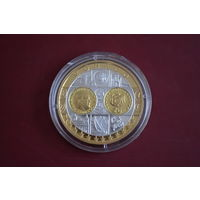 Памятная медаль  монета слиток посвященная 20 Евро 2002 Монако, серебро .999  вес  20 г