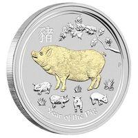 """Австралия 1 доллар 2019г. Австралийская лунная серия II: """"Год Свиньи"""". Пруф; позолота. Монета в капсуле; подарочном футляре; номерной сертификат; коробка. СЕРЕБРО 31,107гр.(1 oz)."""