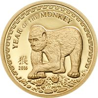 "Монголия 500 тугриков 2016г. ""Год Обезьяны"". Монета в капсуле. ЗОЛОТО 0,5гр."