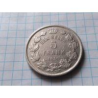 Бельгия 5 франков, 1930 Надпись на голландском