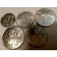 Индонезия 50, 100, 200, 500, 1000 рупий, набор из 5 монет, тип 3, Республика Индонезия