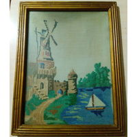 Картина-вышиванка на ткани. Середина 20-го века.