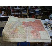 Рабочая штабная карта наступления на Германию времен окончания войны, 85*106 см. Оригинал.