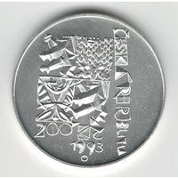 Чехия 200 крон 1993 года. Конституция. Серебро. Штемпельный блеск! Состояние UNC! Тираж 22 529 шт. (7 420 шт. позже были переплавлены). Редкая!