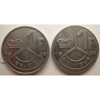 Бельгия 1 франк 1990 г. Belgiё, Belgique. Цена за 1 шт.