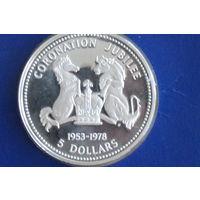 Соломоновы острова 5 долларов 1978(25 лет коронации королевы Елизаветы II) Редкость!