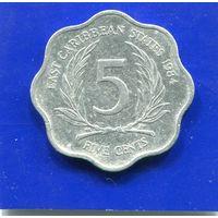 Карибские острова 5 центов 1984
