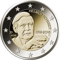 2 евро 2018 Германия A Гельмут Шмидт UNC из ролла