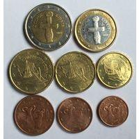 Кипр, полный комплект евромонет одним лотом, 2008 - 2015