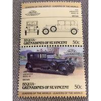 Бекия. Сент-Винсент и Гренадины. Автомобили мира. Lanchester Model 40 1924. Марка из серии
