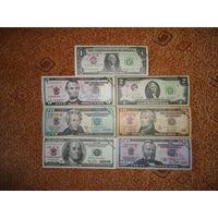 Китай 1-2-5-10-20-50-100 Долларов UNC 7 шт
