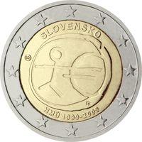 2 евро 2009 Словакия 10 лет Экономическому и валютному союзу UNC из ролла