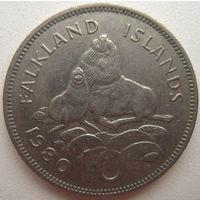 Фолклендские острова 10 пенсов 1980 г.