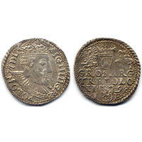 Трояк 1598, Сигизмунд III Ваза, Олькуш. Ав - широкий портрет короля. Штемпельный блеск под патиной, коллекционное состояние
