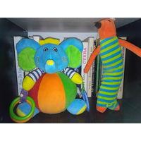 Слоник и лиса игрушки мягкие